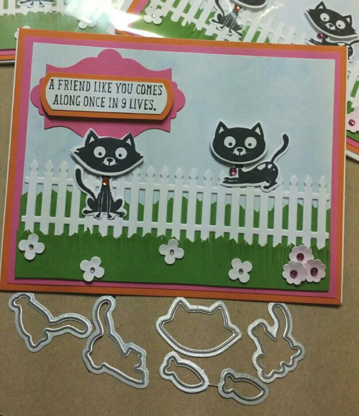 stamp set from Stampin' Up! cut out with the  MEOW die set