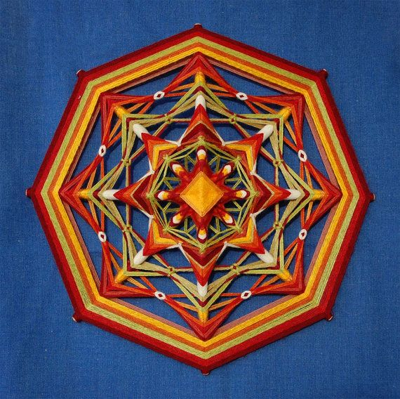 Home Fireplace yarn mandala  Ojo de Dios 17 inches by JivaMandalas