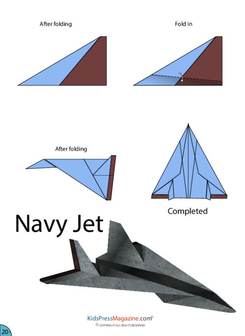 FAMILIES FAVOURITE FREE TIME AIRPLANE ACTIVITES.   Paper Airplane Instructions – Navy Jet   #advanced #paper #plane #printable #template