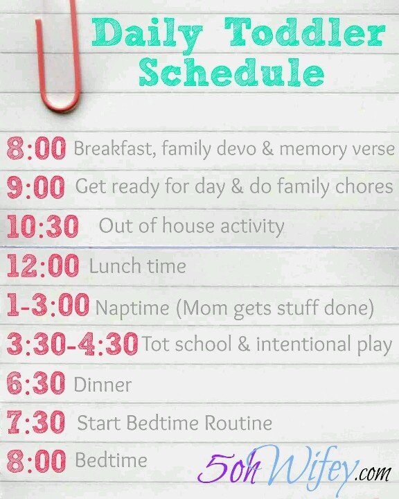 Toddler schedule - almost like this on a good day