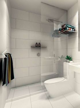 """Large white tiles - Kerry Phelan Design. Similar layout of our small bathroom with a floating sink! Would prefer a glossier finish to the tiles since we won't be tiling all the walls """"wet room."""""""