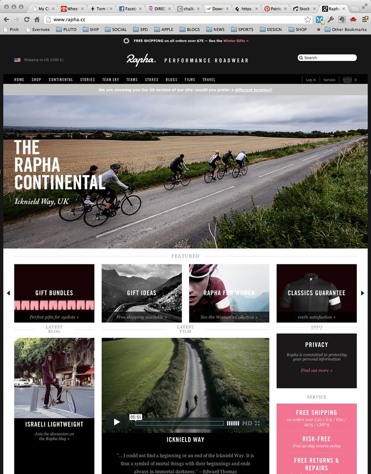 rapha website layout example