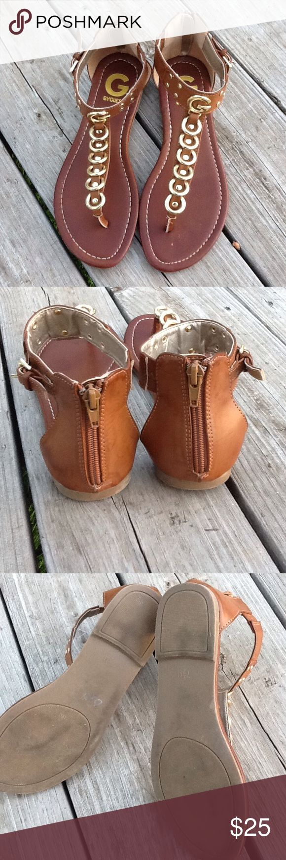 G by Guess Gladiator Sandals.☺️ Brown Zip Up Gladiator Thong Sandal. Gold Detail. G by Guess. Size:7.5 M Pre-Loved. No Trades. No Holds. Reasonable Offers Considered. G by Guess Shoes Sandals