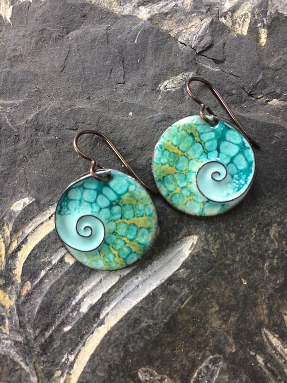 Copper Enamel Earrings/ with Cloisone Spiral/Seascape/Nature