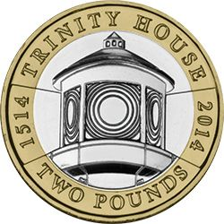 Trinity House is the General Lighthouse Authority for England, Wales, the Channel Islands and Gibraltar. As Britain began increasing its naval power in the early 16th Century, maritime safety became crucial, and Trinity House was granted a Royal Charter in 1514 by Henry VIII. Issued in 2014 by the Royal Mint, this £2 commemorates its 500th anniversary, with the reverse design featuring a depiction of a lighthouse lens.   Edge Inscription: SERVING THE MARINER