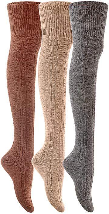 ba95f285c90 Lian LifeStyle Women s 3 Pairs Fashion Thigh High Cotton Socks JMYP1025-02  Size 6-9(Coffee