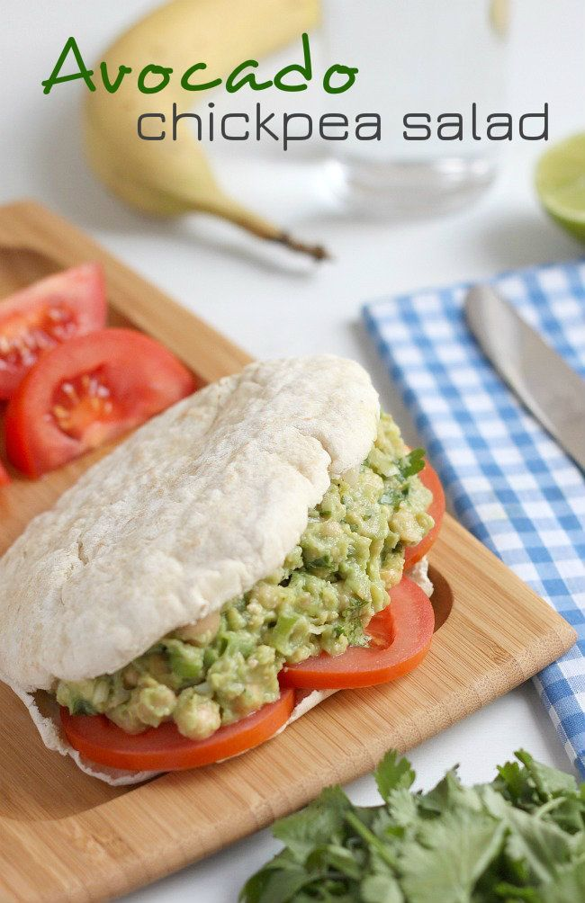 This avocado chickpea salad is the perfect vegan lunch option - the avocado provides a great creamy base for chickpeas, spring onions and coriander!