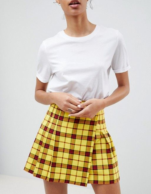 12b8764fd340 DESIGN tailored mini skirt in check with pleats in 2019 | Plaid ...