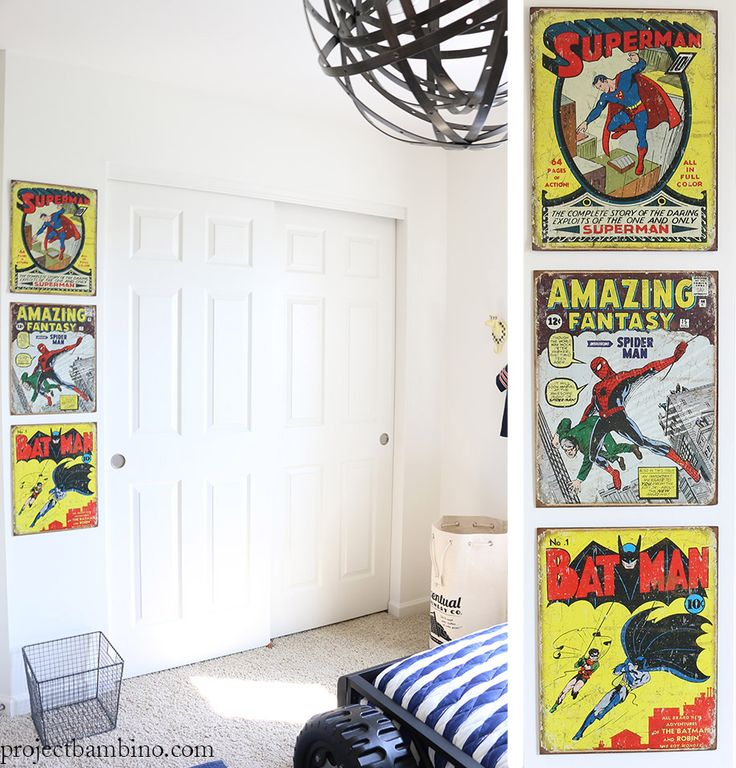 Spiderman Bedroom Wall Art Luxurious Bedroom Interior Design Ideas Bedroom Black And White Bedroom Design For Guys: Comic Posters Decor Kids Bedroom Batman Superman Spiderman