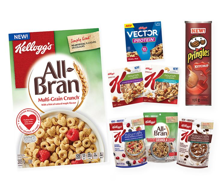 New high fibre cereals from Kellogg's Canada, plus the chip we've all been waiting for - Pringle Ketchup chips are now in Canada