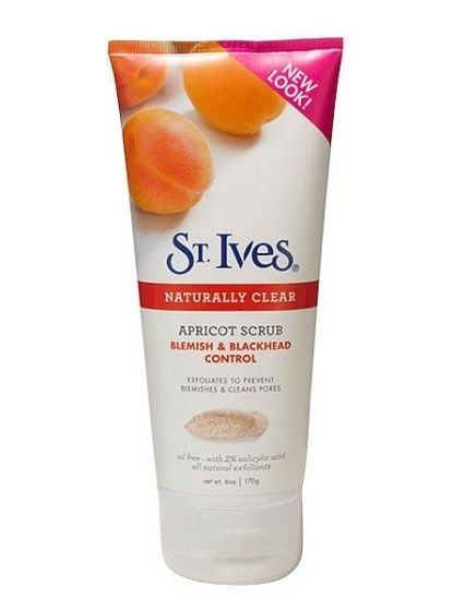 BODY SCRUB DRUGSTORES, DISCOUNT STORES: St. Ives Naturally Clear Apricot Scrub Blemish & Blackhead Control. This face scrub actually wins in the body category. Its 2 percent salicylic acid keeps acne-prone body skin in check.