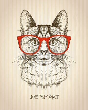 Poster gráfico do vintage com o gato do moderno com vidros vermelhos, contra o pano de fundo de idade listrado papel, cartão das citações de ser inteligente, ilustração desenhada mão do vetor.