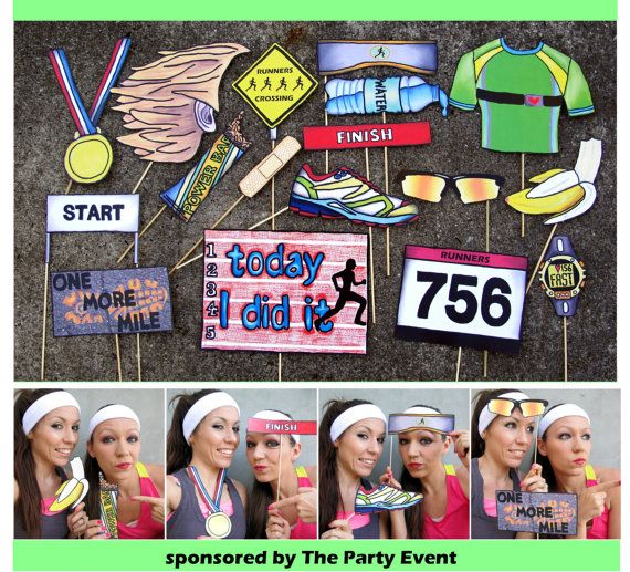 Running race photo booth props perfect for your pre run or after party by thepartyevent, $14.99