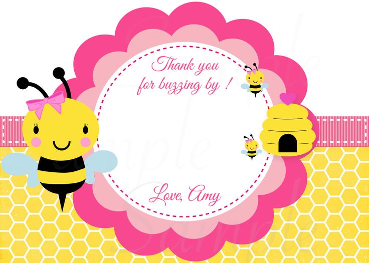 Baby Bumble Bee Thank You Card Or Centerpiece Birthday Shower Printable File By TheLovelyMemories On