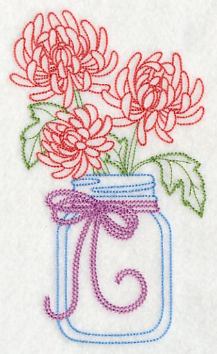 Blooming Chrysanthemums in Mason Jar (Vintage) design (L9421) from www.Emblibrary.com