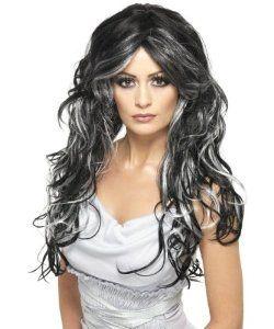Parrucca capelli lunghi mossi neri con fili bianchi. Artificiale. Per travestimenti a Carnevale, Halloween e Feste in genere. Disponibile da C&C Creations Store