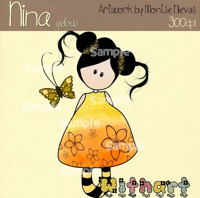 Nina dolls clipart, digital Illustration by Withart for scrapbooking, cardmaking and crafts. Spring, doll, butterfly. www.etsy.com/shop/withart