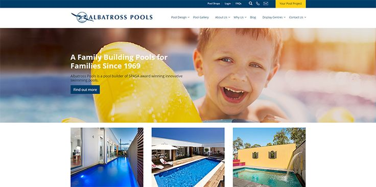 Albatross Pools is the newest website to join the BSO portfolio. For this well-known and respected pool company we worked closely with professional SEO writers to ensure that they didn't lose any of their Google rankings during the design update. With a new, sleek look and custom gallery, Albatross Pools now has the most up-to-date website in their industry.