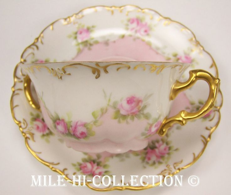 Limoges Hand Painted Roses Bouillon Cup Saucer