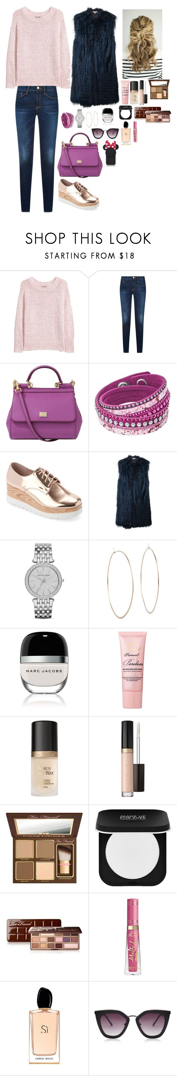 """Untitled #2011"" by azra-99 on Polyvore featuring H&M, Dolce&Gabbana, Swarovski, Wanted, Michael Kors, Marc Jacobs, Too Faced Cosmetics, MAKE UP FOR EVER, Giorgio Armani and Kate Spade"