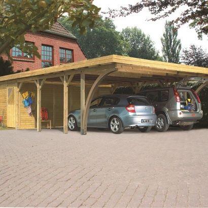 Awesome Carport DOUBLE avec atelier Karibu
