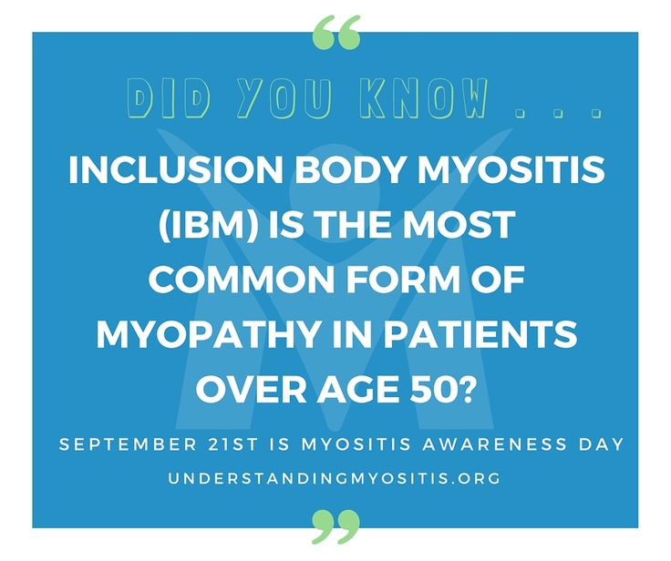 DID YOU KNOW . . . Inclusion body myositis (IBM) is the most common form of myopathy in patients over age 50? And, muscle degeneration is one of the things that sets IBM apart from other inflammatory myopathies. #myositis #inclusionbodymyositis #raredisease