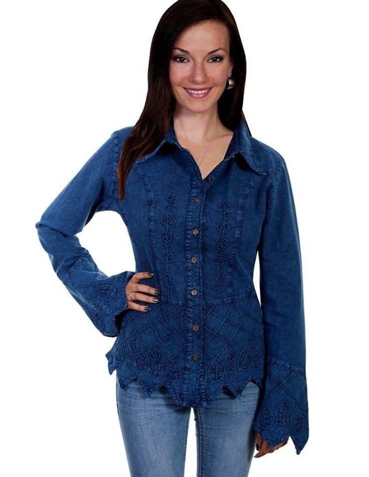 Scully Shirt Women Long Sleeve Jagged Edge Hemline Cuffs PSL-119