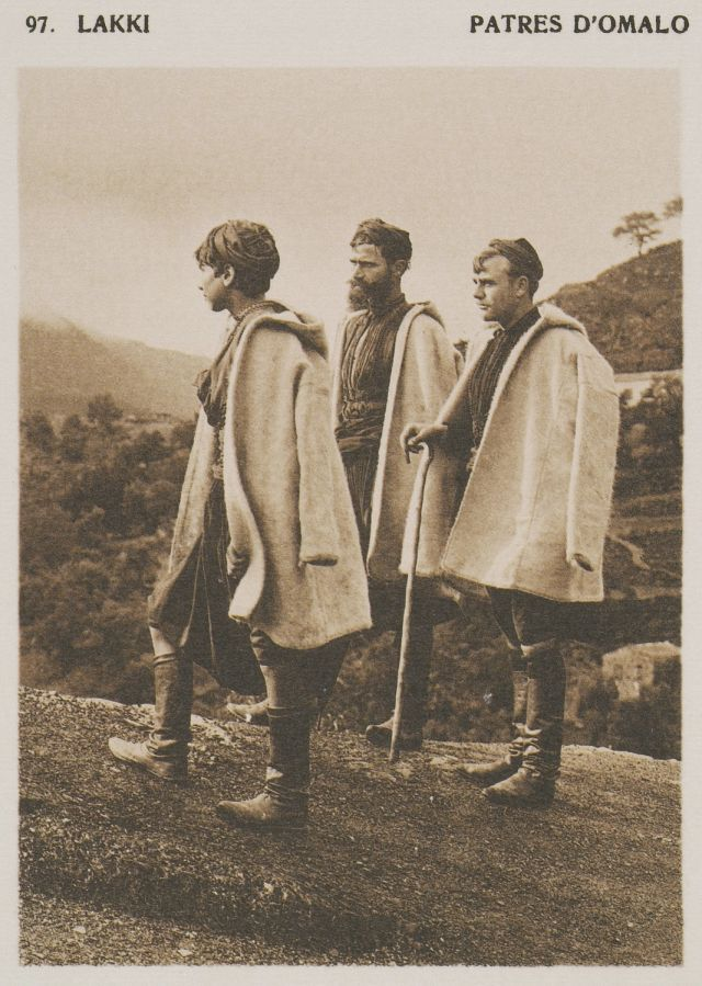 Title: Shepherds from Omalos, Chania. Alternative Title: Lakki. Patres d'Omalo. Date: 1919