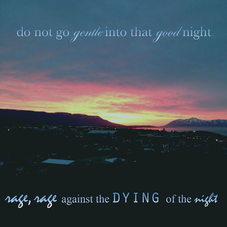 "the death in life in the poem do not go gentle into that good night by dylan thomas About ""do not go gentle into that good night"" a poem dylan thomas dedicated to his father, david john thomas, a militant man who had been strong in his youth, but who weakened with age and."