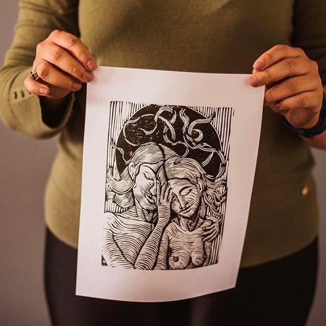 #Linocut hand printed by @lisedmarquez_arts