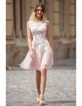 Vintage White Lace overlay Blushing Pink Tulle Short Prom Dress