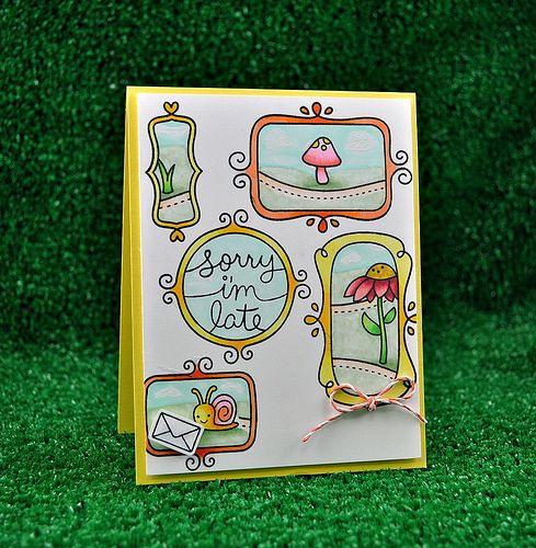 Lawn Fawn - Flirty Frames, Gleeful Gardens, Tangerine Lawn Trimmings _ card by Kristin for Lawn Fawn