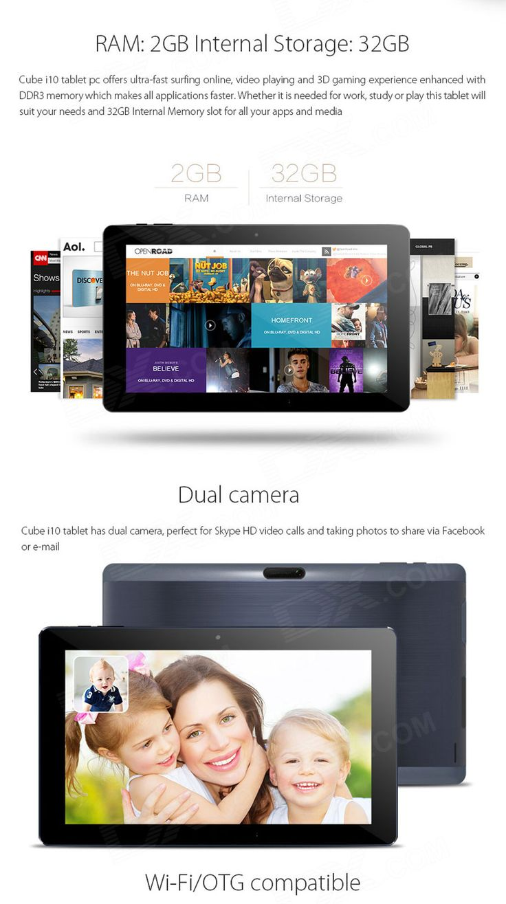Cube i10 Dual Boot Windows/ Android Tablet 2GB RAM, 32GB ROM - Black - Free Shipping - DealExtreme