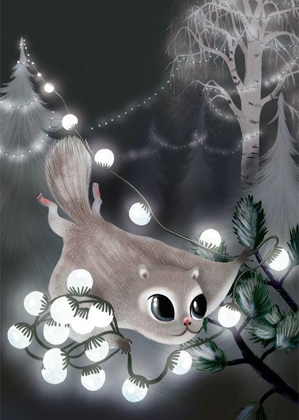 Flying squirrel and Christmas lights. Liito-orava ja jouluvalot. Joulukortti, Jonna Markkula
