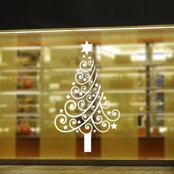 christmas multicolor tree removable glass window wall stickers