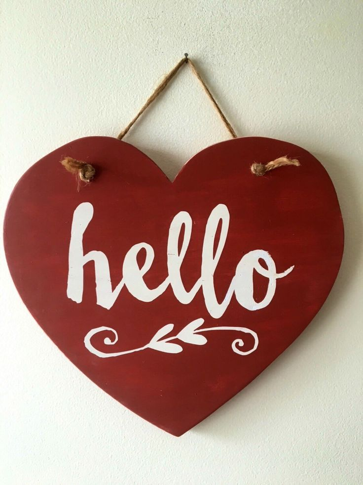 Hello Wood Heart sign red with white letters by WickedGoodGoods on Etsy https://www.etsy.com/listing/483030703/hello-wood-heart-sign-red-with-white