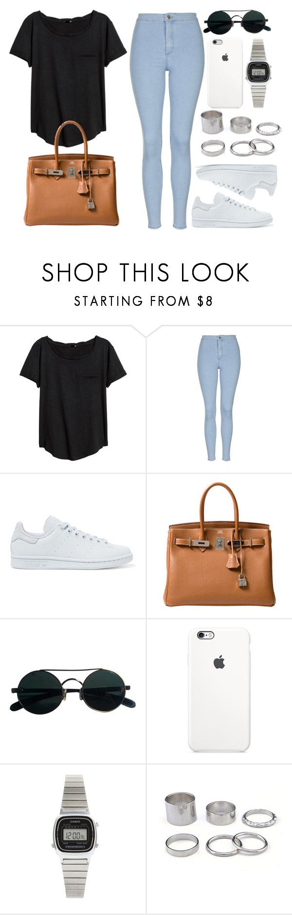 """Style #11069"" by vany-alvarado ❤ liked on Polyvore featuring H&M, Topshop, adidas Originals, Hermès and Casio"
