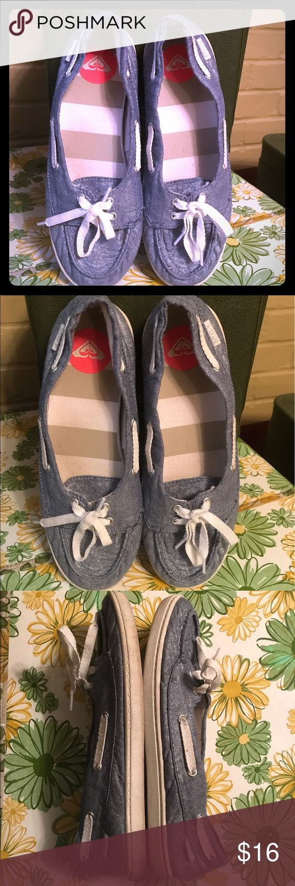 Adorable Roxy Ahoy Sparkle Blue Boat Shoes These are in good, preowned condition. There is obvious wear to the bottoms, as well as some wear to the bottom sides. The color is similar to jeans with a slight sparkle. Super cute! Roxy Shoes Flats & Loafers