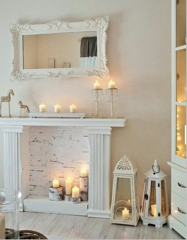 Chic white and candles.