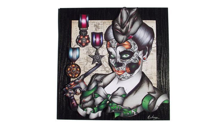 """Dessin encadré sous-verre de 40*40 cm, d'un visage de femme réalisé sur le thème de la médecine. Crée dans un style proche de celui du tatouage, """"M.D Ely"""" est la vision d'une infirmière de guerre, militaire aguerrie ayant sévit durant la seconde guerre mondiale. Entièrement réalisé au stylo ce dessin contient plusieurs papiers différents tous placé en fonction de leurs profondeurs. Dessin mis sous Plexiglas 5 mm"""
