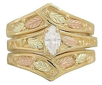 10K Black Hills Gold Womens Ladies 25 TW Diamond Engagement Wedding Ring Set | eBay