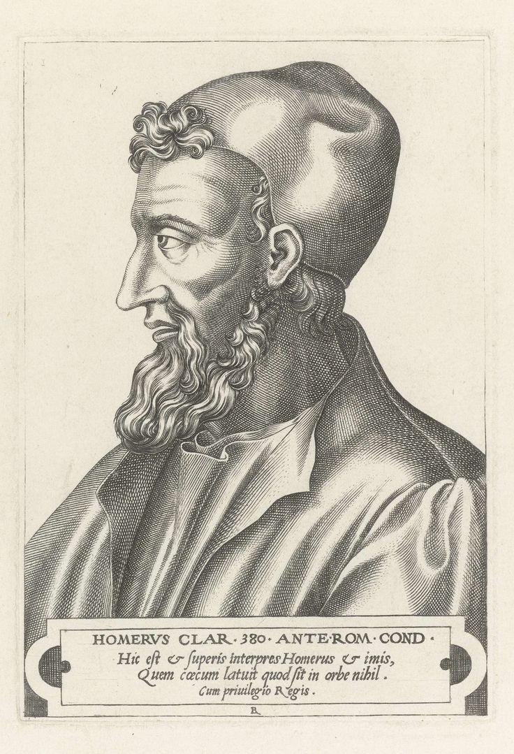 René Boyvin | Homerus, René Boyvin, 1566 | Portretkop naar links, eronder cartouche met 3 regels Latijnse tekst: HOMERUS CLAR.... orbe nihil. Eerste prent in een serie van twaalf Griekse en Romeinse beroemde mannen.
