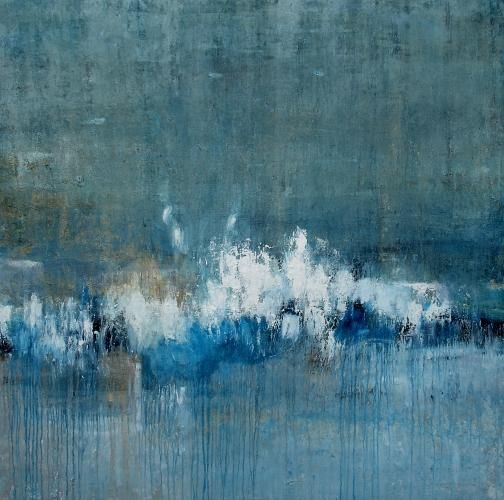 Summer Rain Spits - Lewis Noble: Abstract, Lewis Noble, Blue, Color, Rain Spits, Summer Rain, Seascape, Artist, Paintings