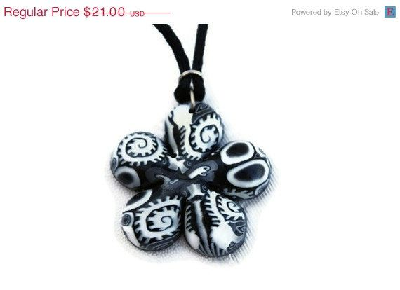 SPRING SALE 50 OFF Black and white necklace by ShuliDesigns