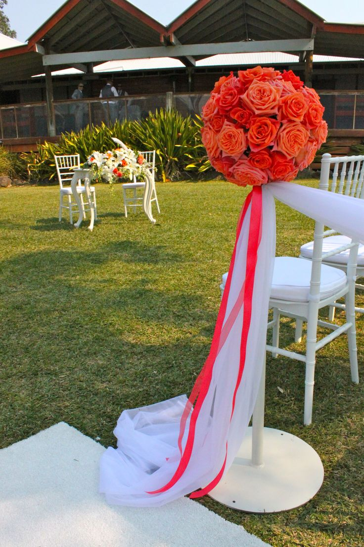 #rose balls on stands #wedding #ceremony #white #Tiffanychairs #whitecarpet with #rose petals down the side of the aisle @ #Tamburlaine #organic wines #Hunter Valley