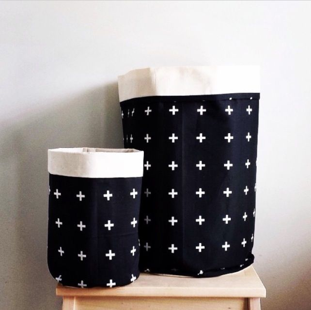 Perfect for storing all the little bits and pieces kids and adults alike have. Handmade from 100% cotton. Measurements: Small – 22cm high by 15cm in diameterLarge – 38cm high by 25cm diameter