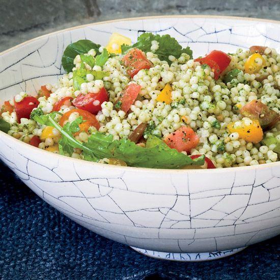 Israeli Couscous and Tomato Salad with Arugula Pesto // More Terrific Recipes with Arugula: http://www.foodandwine.com/slideshows/arugula #foodandwine