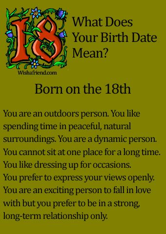 What Does Your Birth Date Mean? - Born on the 18th