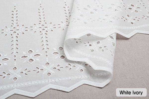 "1y Embroidery scalloped cotton eyelet lace White-Ivory 12"" (30cm) sh9 laceking"