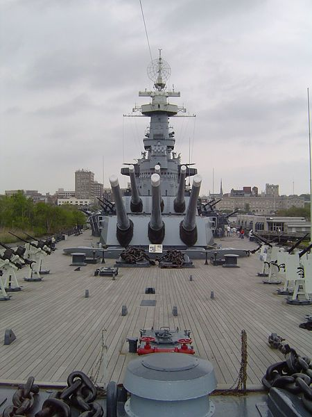 USS North Carolina in Wilmington, NC. The World War II battleship 'North Carolina' is permanently berthed on the Cape Fear River at Wilmington. She was saved from the scrap heap in the 1960's by public subscription, including donations of dimes by schoolchildren.